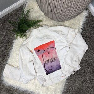 Old Navy | Hand Painted White Denim Jacket Aliens